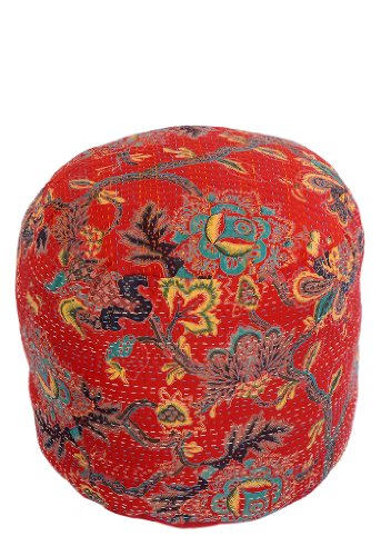 Traditional Decorative Ottoman Or Foot Stool-Indian Comfortable Floor Cushion-Cotton Ottoman Embellished With Kantha work Size 16 X 14 Inches