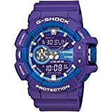 Casio GA400A-6A G-Shock Black Analog Digital Dial Purple Resin Band Men Watch NEW