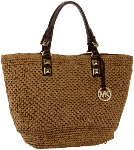08ac1d5ba95b54 Michael Kors Santorini Large Basket Woven Straw Tote, Dark Walnut - Buy &  Cheap