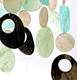 Zen Zen Garden Capiz Shell Wind Chime - Sea Green & Cocoa W-35