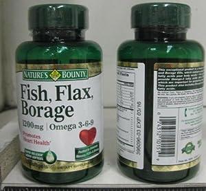 Nature 39 s bounty fish flax borage 1 200 mg softgels 60 ct for Fish flax borage oil