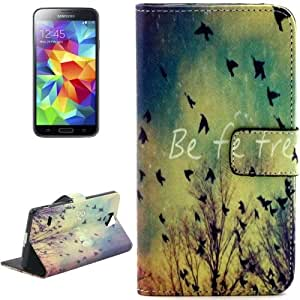 Crazy4Gadget Birds Pattern Leather Case with Holder & Card Slots & Wallet for Samsung Galaxy S5