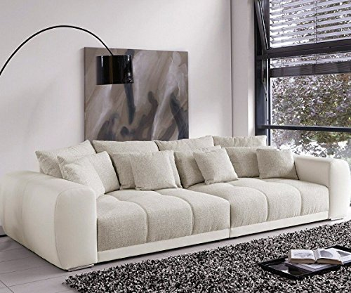 Bigsofa Valeska Grau Beige Couch 310x135 cm mit 12 Kissen Big-Sofa thumbnail