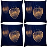 Snoogg Jellyfish Animal Pack Of 4 Digitally Printed Cushion Cover Pillows 12 X 12 Inch