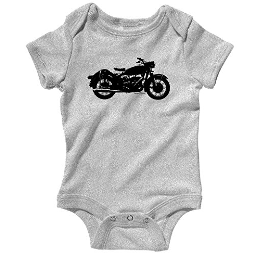 Vintage Motorcycle Baby Creeper By Smash Vintage - Heather Gray, 6M front-663628