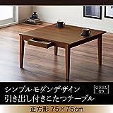 シンプルモダンデザイン 引き出し付き こたつテーブル 【Foyer】フォワイネ 正方形(75×75) ブラウン
