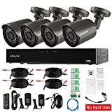 Evtevision 4CH Full HD 1080P Home Video Security System-4 Channel 2MP AHD/TVI/CVI/Onvif IP/Analog HVR+4pcs 2.0 Megapixel Outdoor IP67 Bullet Cameras,Night vision,Remote Smartphone Access (No HDD)