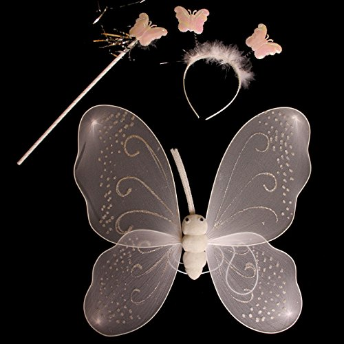 Dazzling Toys One Set of 3pcs Nylon White Angel Wings, Halo Headband and Magic Wand