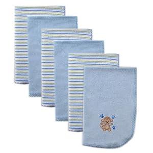 Luvable Friends 6 Pack Baby Burp Cloths, Blue