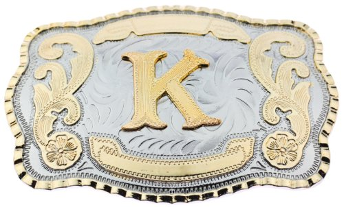 Initial Letters Western Style Cowboy Rodeo Gold Large Belt Buckles (Large Square, K LETTER)