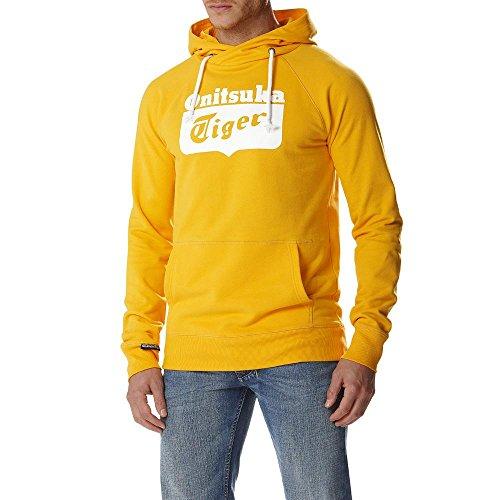 Onitsuka Tiger Felpa con Cappuccio Logo Core Hoodie, Gold Fusion-L