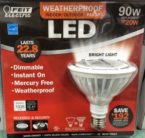 Feit Par38 Led 20 Watt (90W Equivlant) Flood Bulb, Bright White 3000K Weatherproof