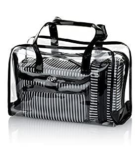 4 Piece Striped Cosmetic Bag Set