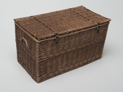 Blanket Box Large 80cm Honey Wicker Storage Trunk Blanket Box