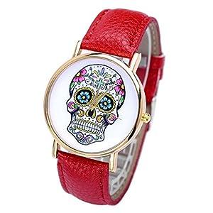 Smartbargain 33mm Women's Golden Day of Dead Sugar Skull Cross Quartz Analog Wrist Watch (Red) from Smartbargain