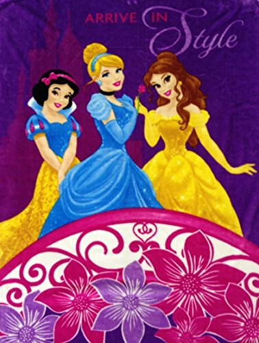 "Disney Princess ""Arrive In Style"" Premium Plush Raschel Twin Blanket 78"" X 59"""