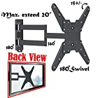 2xhome - TV Wall Mount Bracket - LED LCD Plasma Smart 3D WiFi Flat Panel Screen Monitor Moniter Display Displays - Full Motion 15° degree degrees Tilt Tilting Tiltable Extended Extendible Extending Swivel Articulating Heavy Duty Strong Durable - Long Swing Arm Single Corner Cantilever Mounted Mounting Home Entertainment Media Center Multimedia Family Living Room Game Gaming - Space Saver System - Compatible VESA 75x75, 100x100, 100x200, 200×200, 200x300, 300x300, 300x400, 400x400 - Universal Fit for LG Electronics Samsung Vizio Sharp TCL Toshiba Seiki Sony Sansui Sanyo Philips RCA Magnavox Panasonic JVC Insignia Hitachi Emerson Element SunBrite SunBright 26 27 28 29 30 31 32 33 34 35 36 37 38 39 40 41 42 43 46 47 48 49 50 51 52 55