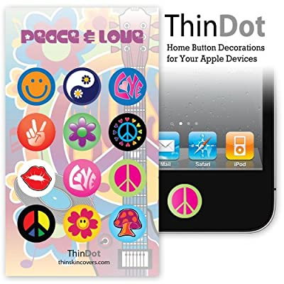 "ThinDot Home Button Stickers for iPhone, iPad, iPod ""Peace and Love 4"""
