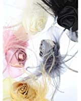 Headband Fascinator with Rosebud Flower Net & Feathers 'In 5 Colours to Choose From'