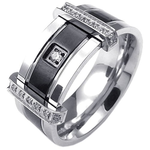 KONOV Mens Cubic Zirconia Stainless Steel Ring, Charm Elegant Wedding Band, Black Silver, Size 11 (Men Stainless Steel Ring Size 11 compare prices)