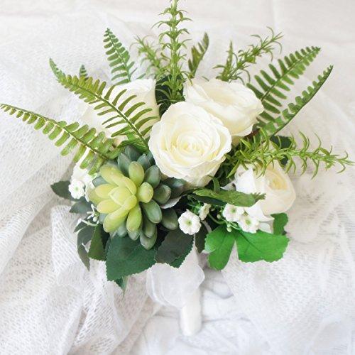 Lily Garden Hydrangea Berry Succulents Plant Ranunculus Wedding Bouquet (With Rose Fern)