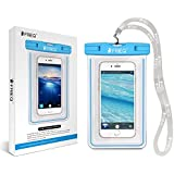 FRiEQ Universal Waterproof Case for Outdoor Activities - Perfect for Boating / Kayaking / Rafting / Swimming - Waterproof bag for Apple iPhone 6 Plus, 6, 5S, 5C, 5; Galaxy S6, S4, S3; HTC One X, Galaxy Note 4, Note 3; LG G2, up to 6 inch Diagonal - Protects your Cell Phone or MP3 Player from Water, Sand, Dust and Dirt - IPX8 Certified to 100 Feet (Light Blue)