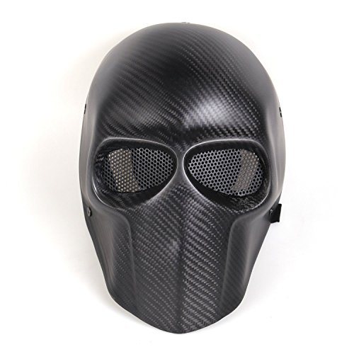 Suncer Carbon Fiber Airsoft Mask - BB Gun / Hunting / CS War Game - Tactical Full Face Skull Mask (Carbon Tactical Helmet compare prices)