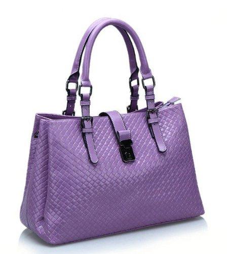 Woven Grain Leather Handbag Ladies Summer Cross Body Shoulder Tote Bag (Purple)
