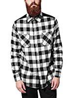 Urban Classics Camisa Hombre (Negro / Blanco)