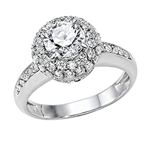 GIA Certified 14k white-gold Round Cut Diamond Engagement Ring (1.63 cttw, G Color, SI1 Clarity)