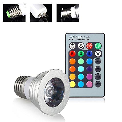 Fanshop E273W RGB LED 16Farbwechsel LED Magic Light Lampe Leuchtmittel mit IR-Fernbedienung