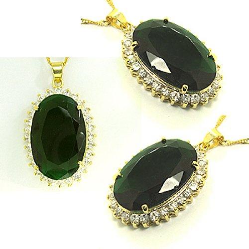 Rizilia Lady Fashion Jewellery 1 Oval Cut Green Emerald Gem Gold Tone Pendant Necklace