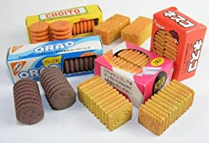 Kawaii Biscuit Erasers, 3d Bixcuit Erasers, a Set of 8 Pcs, 2 Pcs in a Box.
