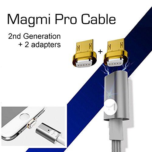 DigitalOME® Magmi Pro Cable con imán magnético con dos pines para cargador Micro Usb 2.0 para Samsung, Sony, Xiaomi, LG, HTC... - 1,2m 2.4A width=