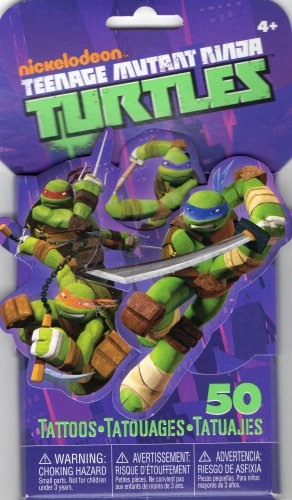 Teenage Mutant Ninja Turtles 3D Novelty Pack of 50 Temporary Tattoos