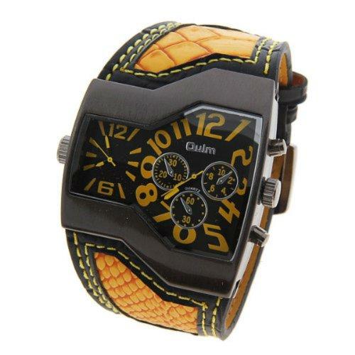 Pixnor® Oulm Watch Multiple Time Zone Men Sports Watch Orange Belt Business Gift