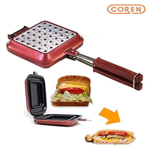 "[COREN] Sentopan 14.8"" x 6.3"" x 1.6"" Nonstick Double Side Pressure Pan, Omelette, Sandwich, Steak, Fry Pan, Induction Ready, Dishwasher Safe, Made in Korea"