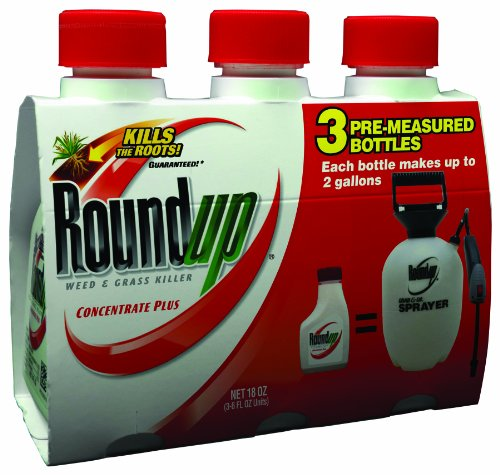 Roundup 5006510 Weed & Grass Killer Plus, 6-Ounce Concentrate/3 pack