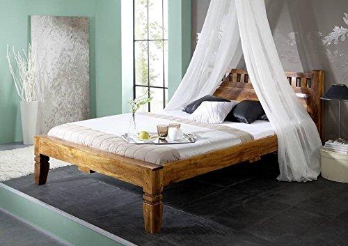 Koloniales Bett 140x200 honig Akazie massiv Möbel OXFORD #221
