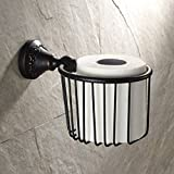GUMA Vintage Wall Mount Solid Brass Toilet Roll Paper Holder Wire Basket Oil Rubbed Bronze Finish Bathroom Cosmetics...