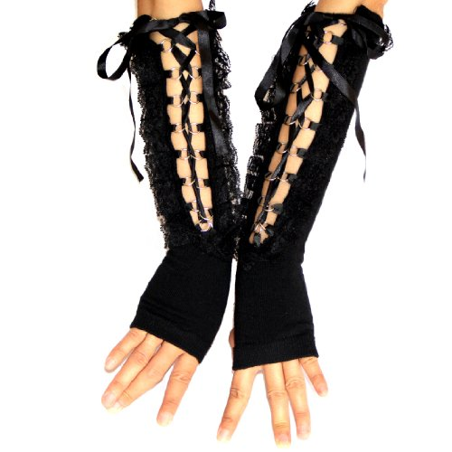 ECOSCO Black Lace up Gothic Gloves Ball Prom Arm Warmer 80s