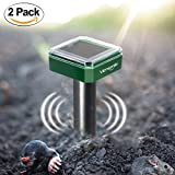 2 x VENSMILE Solar Powered Mole Repellent Gopher Repeller Vole Trap Repel Outdoor Rodent Mice Rats Chaser and Waterproof for Garden Yard
