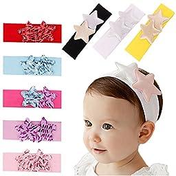 ZHW Baby Girl\'s Flower Headband Hairband Bow Big Flower (7 pack star)