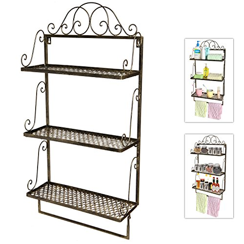 Rustic Brass Style Vintage Scrollwork Metal Wall Mounted 3 Shelf Storage Rack With Towel Bar
