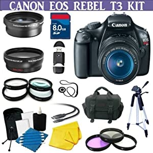 Canon EOS Rebel T3 (1100d) SLR Digital Camera w/ Canon 18-55mm Lenses + 3 Extra Lens + Hdmi Cable + 8gb Sdhc Memory Card + Soft Carrying Cases + Tripod & Much More !!