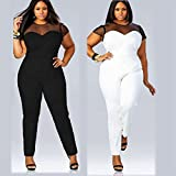 eShow Women Plus Size Perspective Clubwear Bodycon Long Jumpsuit Rompers