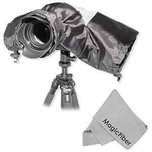 Professional Rain Cover Camera Protector for Large DSLR Cameras (CANON REBEL EOS T3i T2i T1i XT XTi XSi 60D 7D, NIKON D7000 D5100 D5000 D3200 D3000 D90 D80) + MagicFiber Microfiber Lens Cleaning Cloth