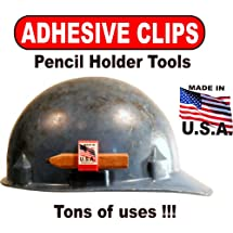 Hard Hat Adhesive Clips 50 PACK of RED PENCIL HOLDER TOOLS With Tons of Uses!