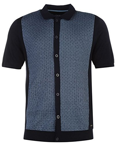 mens-fine-knit-button-front-polo-shirt-top-large-navy-blue