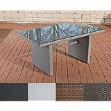 CLP Polyrattan Tisch FISOLO, bis zu 4 Farben wählbar, Gartentisch Größe ca. 140 x 80 cm, Höhe: 66 cm grau